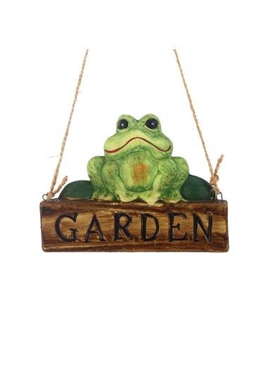 Bosphorus 18 X 8 X 1 Cm Kurbağa Şekilli Garden Yazılı Ip Askılı Balkon Ve Bahçe Süsü Yeşil